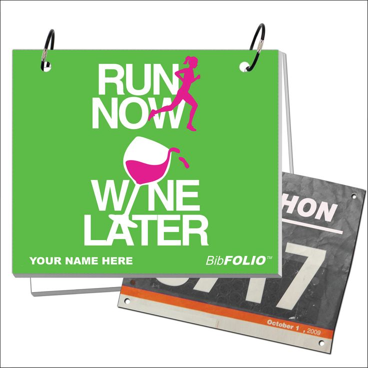 Run Now Wine Later BibFOLIO - Artist Style | Running BibFOLIOs | Running Accessories