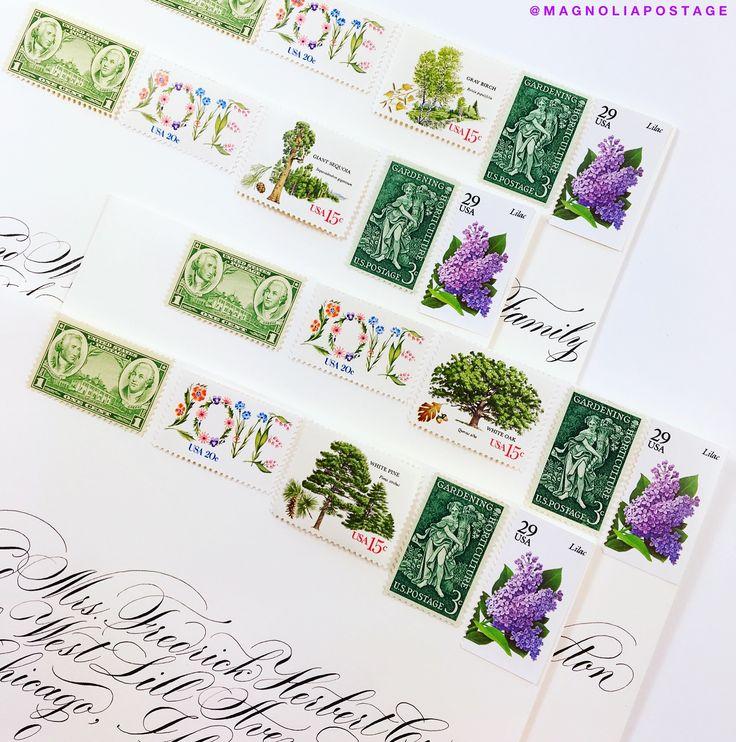 Vintage Postage Stamps Wedding Magnolia