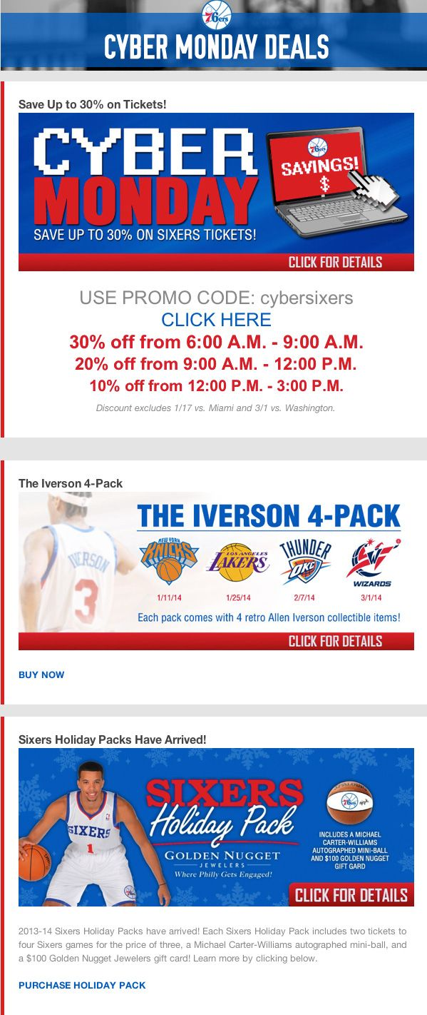 123 best black friday and cyber monday email samples images on philadelphia 76ers cyber monday promo code for 30 countdown ticket savings