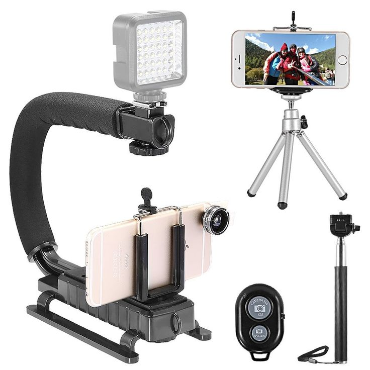 """Amazon.com: Neewer® Photography Kit for iPhone 6 Plus/6/5s/5c/5/4s/4,Samsung Galaxy S5/S4/S3, Note2/Note3 and Other Smart Phones, Kit includes: 4-in-1 Self Portrait Set: (1)43""""/110cm Black Extendable Monopod Selfie Stick + (1)Universal Adjustable Phone Holder + (1)8""""/21cm Mini Tripod + (1)Bluetooth Wireless Remote Control; 3-in-1 Clip-on Phone Lens Set: (1)180 Degree Supreme Fisheye Lens + (1)0.67X Wide Angle with (1)10X Macro Lens; (1)Black C-Shape Video Action Stabilizing DV"""