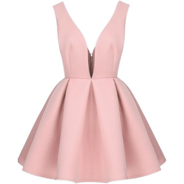 SheIn(sheinside) Pink V Neck Backless Midriff Flare Dress ($26) ❤ liked on Polyvore featuring dresses, vestidos, sheinside, short dresses, pink, backless dress, pink dress, v neck cocktail dress and short sleeve dress