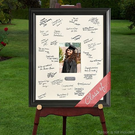 A personalized graduation photo signature frame is a unique alternative to traditional graduation party guest books and beautiful way to record all your guest's names and show off the proud graduate with a 5 x 7 photo. Set the frame up next to your graduation photo displays for guests to sign so you can later display it as a memorable keepsake. This signature frame can be ordered at http://myweddingreceptionideas.com/personalized_graduation_photo_signature_frame.asp