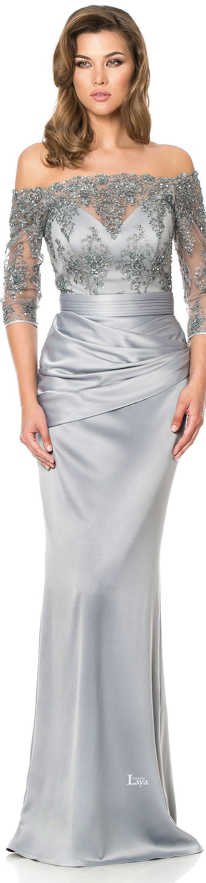 Platinum grey mother of the bride formal dresses with beaded lace are great for all seasons.  This off the shoulder dress design has 3/4 length sleeves.  As USA dress makers we can customize any design to your liking.  We can work from our #motherofthebridedresses or from any picture you like from the internet.  Custom dress designs & very close #replicas are our specialty.  Get pricing from us via email when you visit our website.