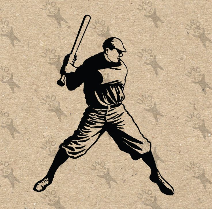 Vintage Baseball Player Batter Image Instant Download Printable Picture Clipart Digital Graphic Iron On Burlap Stickers Etc 300dpi