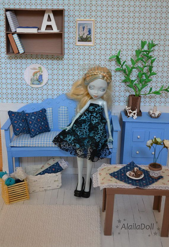 Handmade Diorama BLUE ROOM  for 30 cm dolls by AlailaDoll