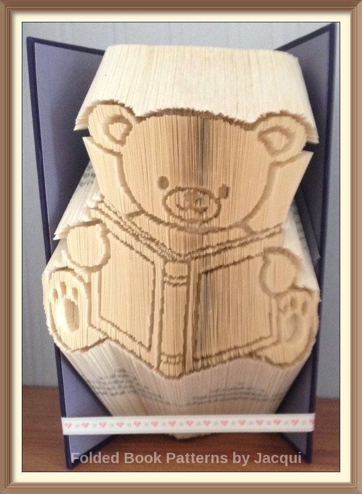 Book Bear Cut and Fold Book Folding Pattern by JHBookFoldPatterns on Etsy