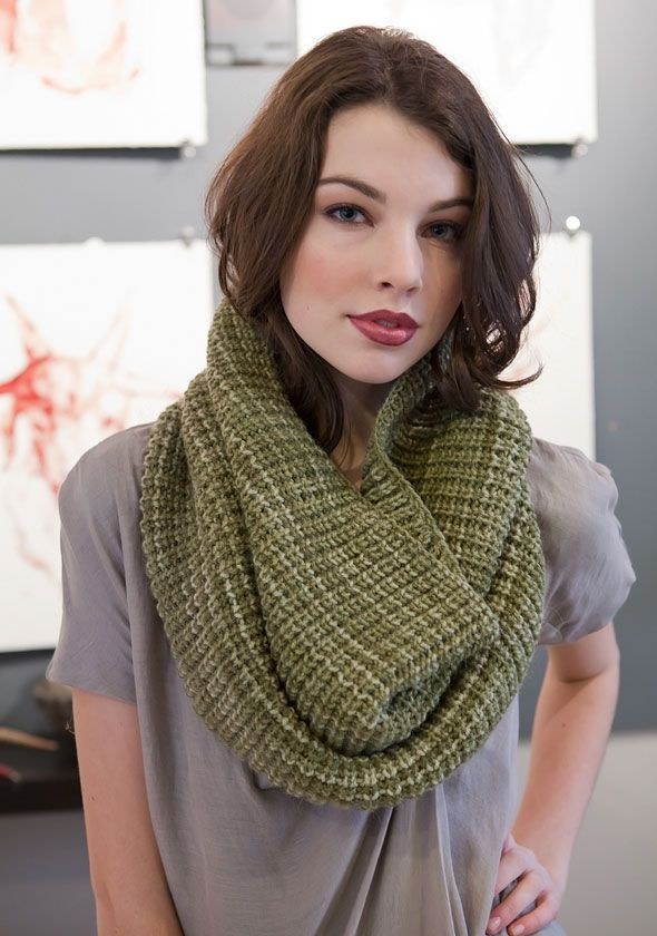 """This luxurious cowl will help your wardrobe bridge the gap between seasons. One size Finished Measurements Approximately 34"""" around x 17"""" high Materials 3 Hanks Berroco Ultra Alpaca Tonal(100 grs), #6318 Oliva 29"""" Length circular knitting needles, sizes 8 (5.00 mm) and 9 (5.50 mm) OR SIZE TO OBTAIN GAUGE 1 St marker Gauge 16 sts = 4""""; 18 rnds = 4"""" in Rib Pat on smaller needle TO SAVE TIME, TAKE TIME TO CHECK GAUGE"""