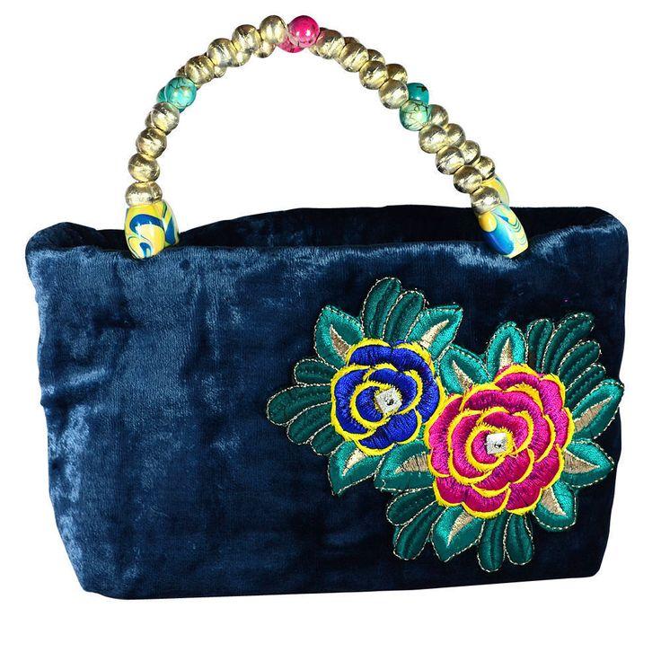 Elegant Bluish Grey Velvet Flower Motif Party Womens Hand Made Bag Purse Sale ! #ArishaKreationCo
