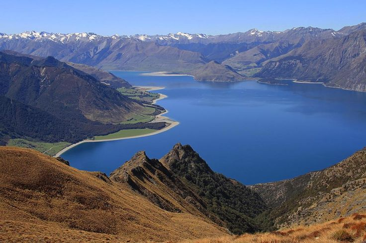 """Looking down on Lake Hawea & the Hunter Valley from Isthmus Peak. #LoveWanaka #LakeHawea #Hawea #IsthmusPeak #nature #landscape #lake #mountains…"""