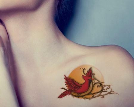 red cardinal bird tattoo on chest