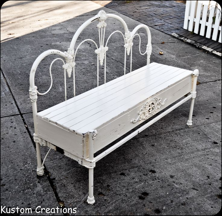 Custom bench made from old wrough iron headboard