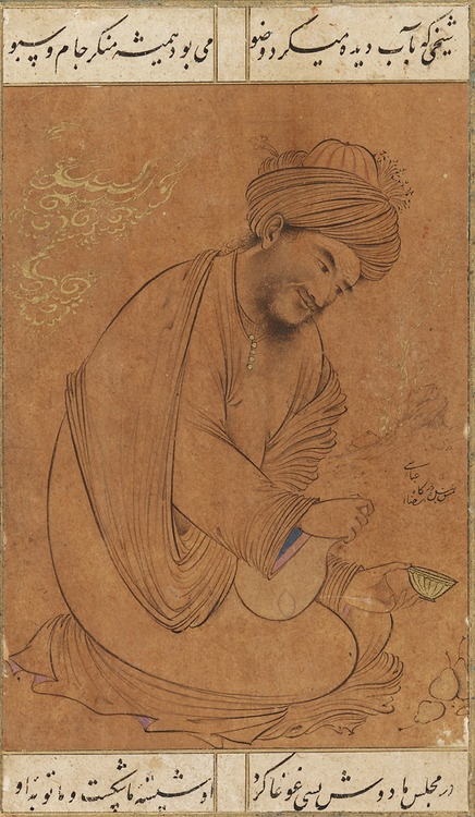 "Man Filling a Wine Cup, Isfahan, Iran, mid-17th century  ""This fine drawing on brown paper depicts a kneeling religious scholar (shaykh) holding a wine gourd in one hand and a gold cup in the other. It is framed by four lines of poetry that offer a humorous interpretation of the composition but also question the meaning of true devotion.    A shaykh who would use his tears [of repentance] for his ablutions,  Was always averse to a cup and jar [of wine].  At our gathering last evening, he…"