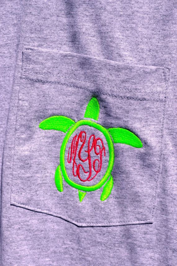 Turtle MONOGRAMMED Pocket Tee - Short Sleeve - Sorority Gift - Bridesmaid Gift on Etsy, $22.99