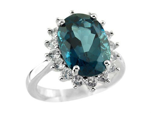 Oval London BlueTopaz and White Topaz Ring Sterling Silver Size 5 -- See this great product by click affiliate link Amazon.com