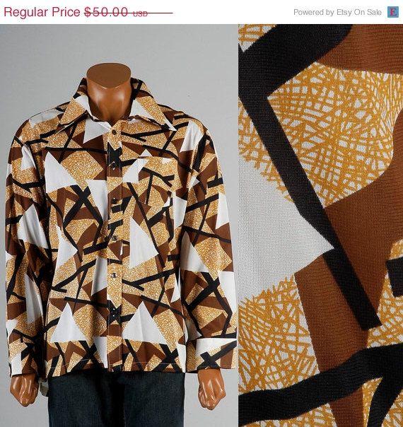 Mens Vintage 70s Geometric Print Psychedelic Disco Shirt