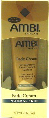 Ambi Fade Cream Normal 2 oz. (Case of 6) by AMBI. $31.45. Ambi Fade Creams are developed to visibly reduce the appearance of dark marks and skin discolorations for an even, natural skin tone. When used as directed, you will begin to see results in as little as two weeks and results improve with continued use. Ambi Fade Creams are perfect for use on face or body and are available in two formulas to meet your unique skincare needs: For Oily Skin, and For Normal Skin.