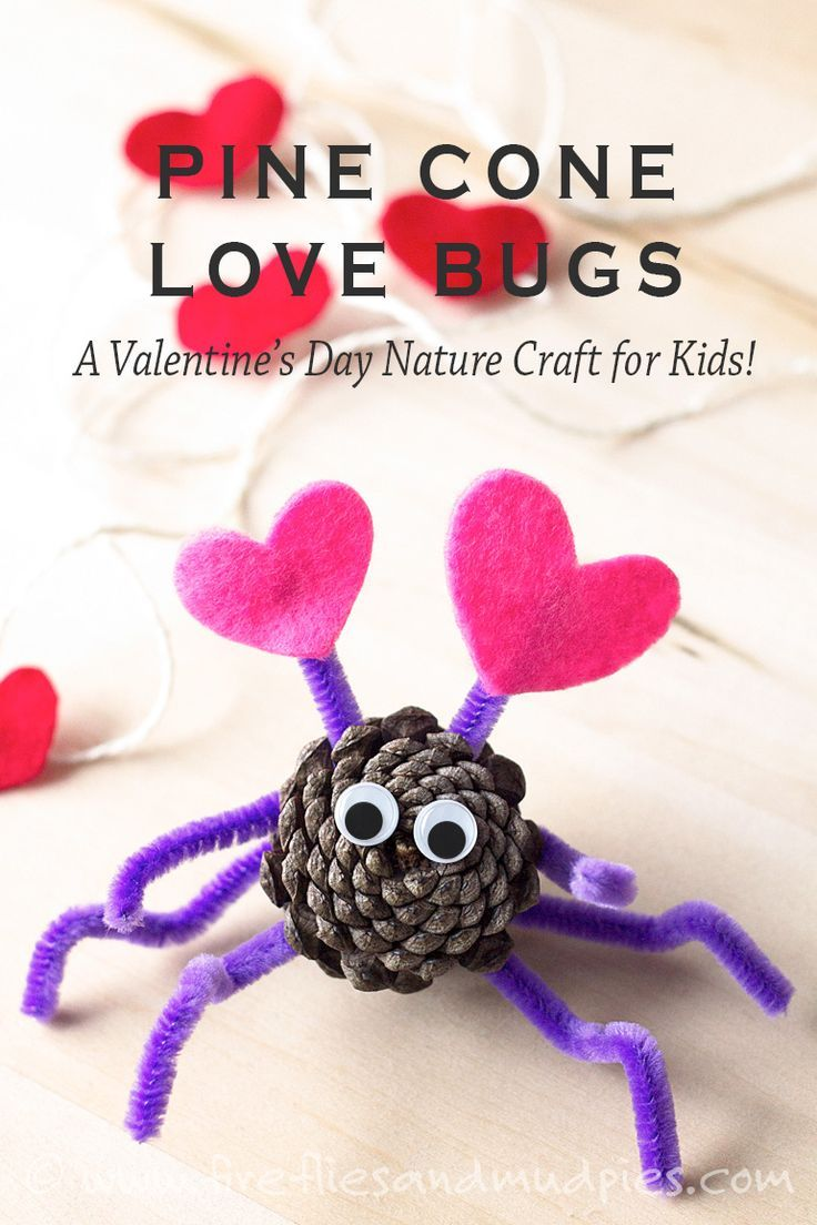 Valentine love bug craft - Diy Pine Cone Love Bugs A Valentine S Day Nature Craft For Kids Fireflies