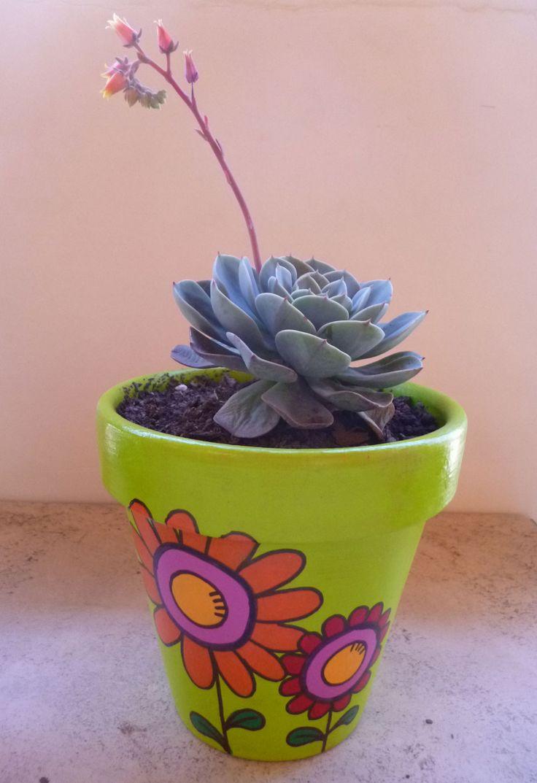 Maceta pintada a mano en acrílico con plantita suculenta. Flor (14 cm)