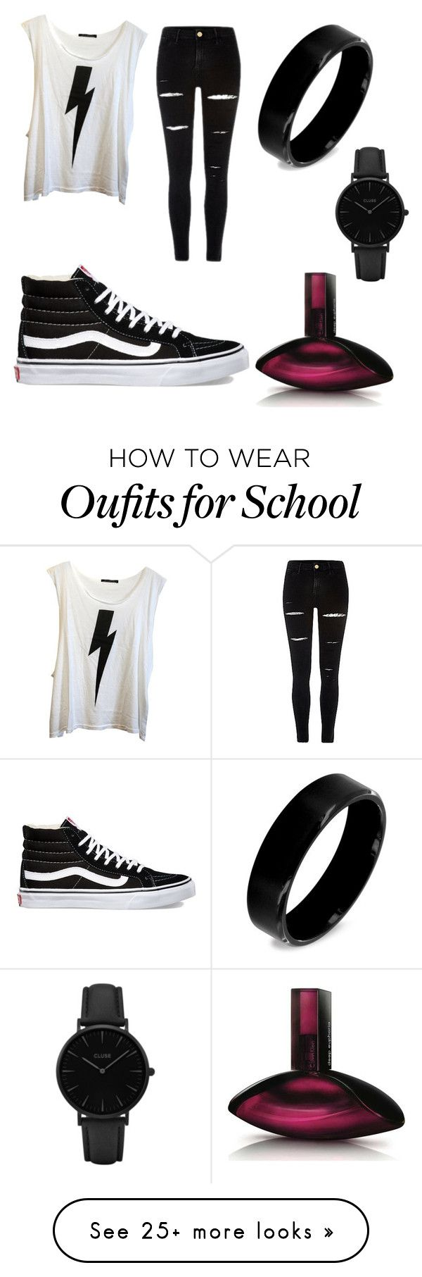 """""""School outfit #43"""" by hoodchick on Polyvore featuring Wildfox, Vans, West Coast Jewelry, CLUSE and Calvin Klein"""