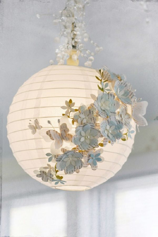 Butterfly and flower / floral design pretty romantic light globe. Link to full tutorial and shape templates here!! Creative DIY Paper Lamp Ideas | elegant white butterflies (or use colored paper! This one uses book pages!) for bedroom or little girls room or wedding maybe. Time consuming.
