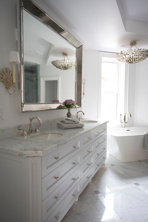 Meredith Heron Design Bathrooms Venetian Beaded Mirror