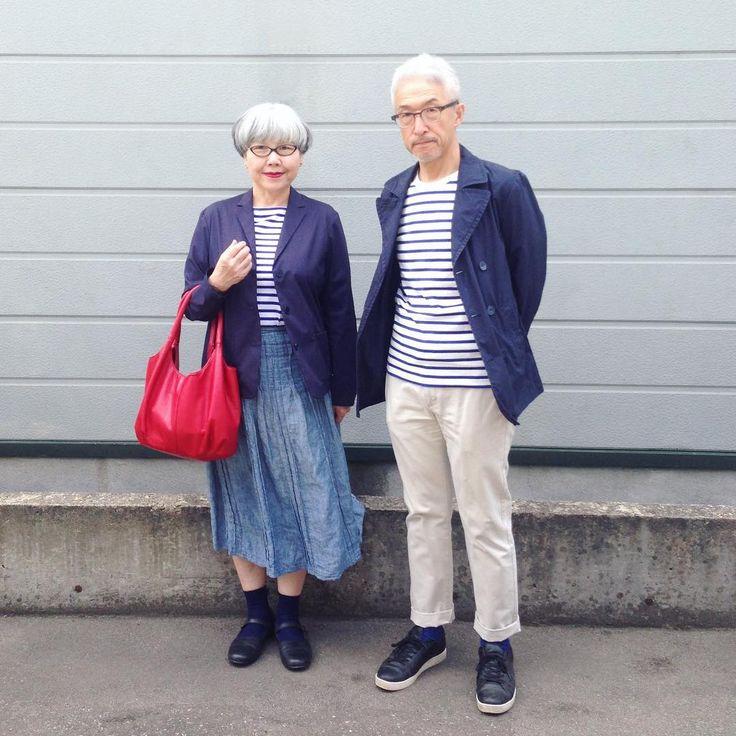 ネイビージャケットとボーダーT #couple #over60 #fashion #coordinate #outfit #ootd #instafashion #instaoutfit #instagramjapan #whitehair #silverhair #greyhair #夫婦 #60代 #ファッション #コーディネート #グレイヘア #白髪 #共白髪