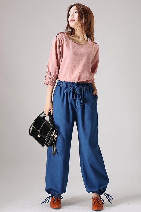 Casual Blue linen trousers woman maxi pants elastic waist pants (844)