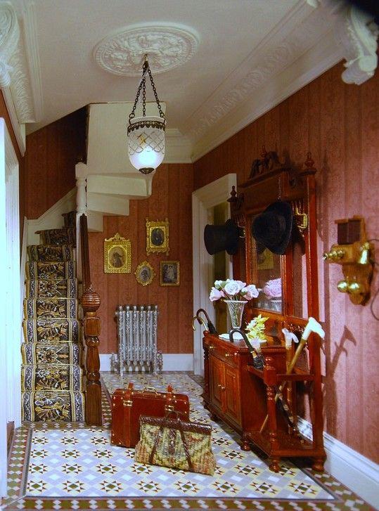 Dollhouse miniature Victorian entrance hall.