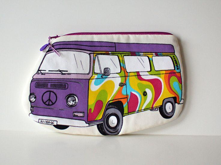 """Federmäppchen """"Hippie-Bus""""Flower-Power No.4 von Williamson-Design auf DaWanda.com"""