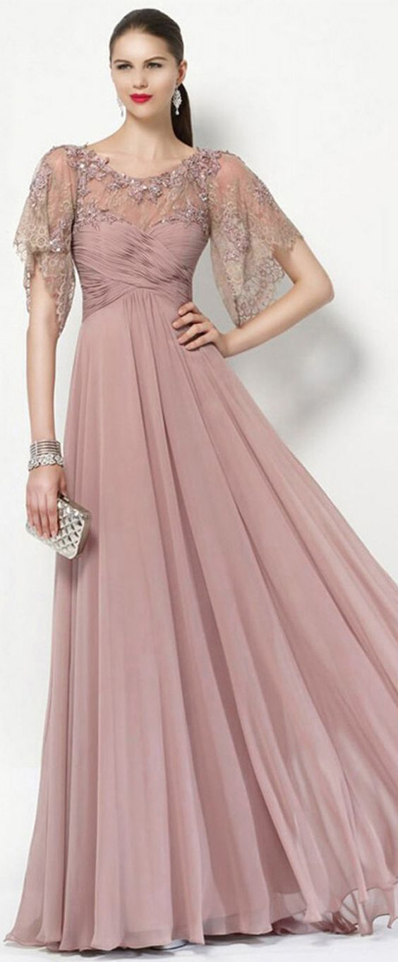 Romantic Tulle & Silk-like Chiffon Scoop Neckline Short Sleeves A-line Mother Of The Bride Dresses With Beaded Lace Appliques