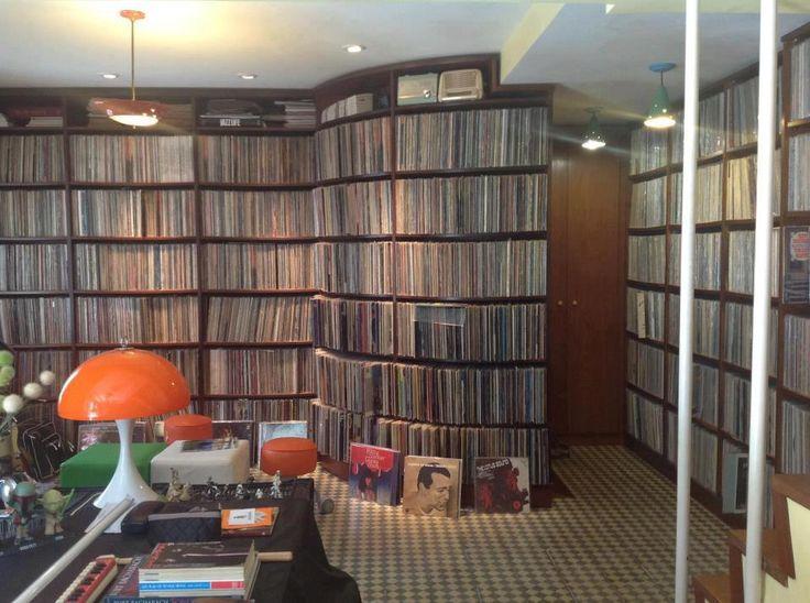 custom record shelving in the home of Ed Motta