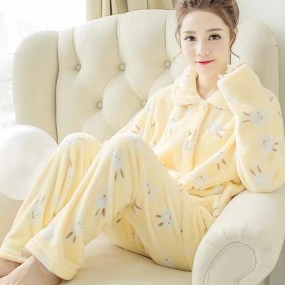 Cheap pyjamas silk, Buy Quality pyjama boy directly from China pyjamas stock Suppliers: Winter pajamas women thick coral cashmere Korea autumn  lovely long sleeved cardigan flannel home service suits pyjamas women
