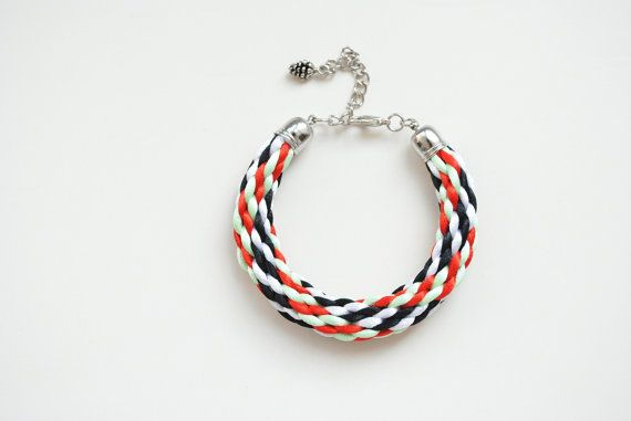 Multicolor kumihimo bracelet black white red mint by elfinadesign