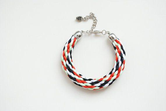 Multicolor kumihimo bracelet black white red mint by elfinadesign, $18.00