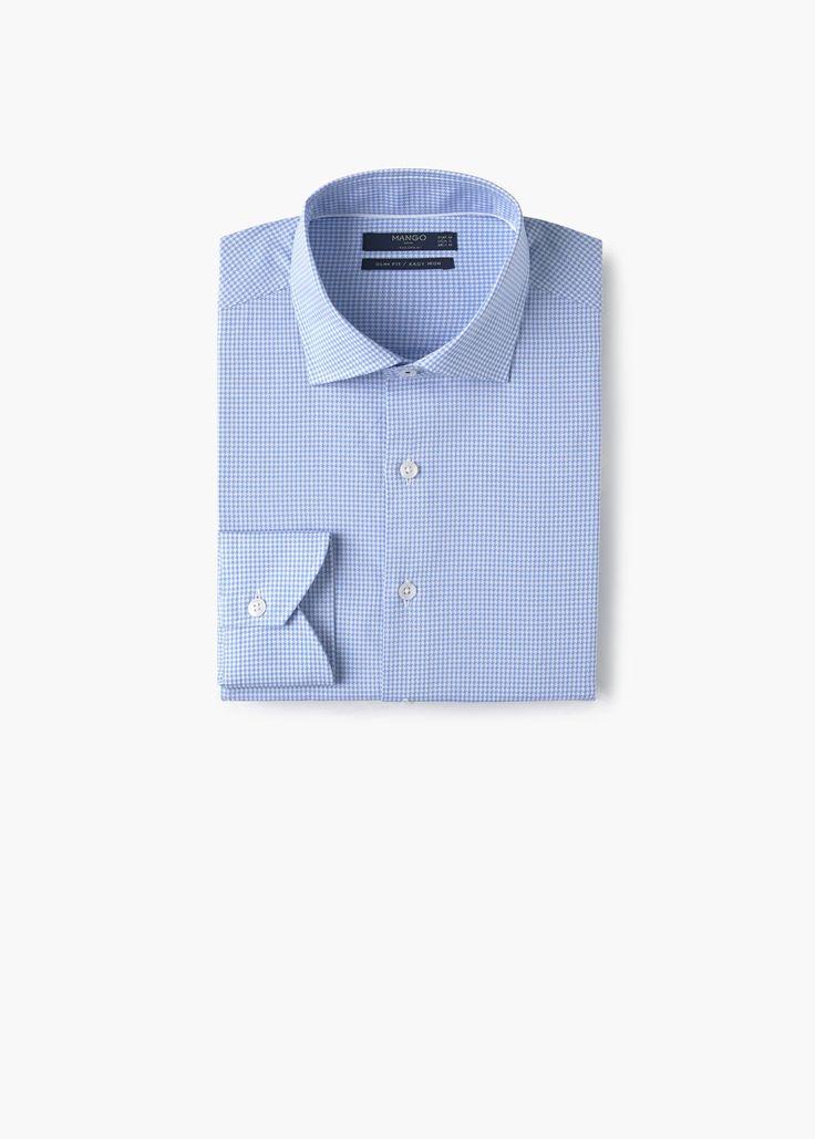 Camisa tailored slim-fit micro pata de gallo | MANGO MAN