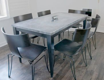 Custom Zinc Top Kitchen Table In Painted Oak