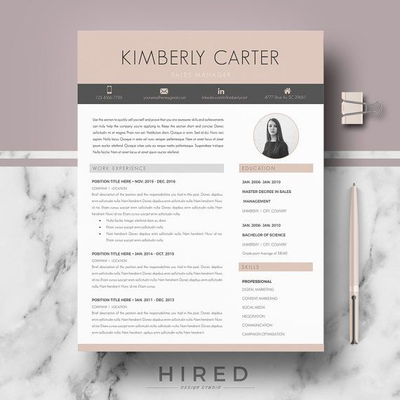 Modern Resume Template for Word: Kimberly   - 100% Editable. - Instant Digital Download. - US Letter & A4 size format included. - Mac & PC Compatible using Ms Word. - If you like this template, but you prefer to use it without a photo, just delete it.   ▬▬▬▬▬▬▬▬▬▬▬   ► PROMO CODES: --> Get 30% OFF on 2 templates with the code HIRED30 --> Get 35% OFF on 3 templates with the code HIRED35   -->How to apply discount codes:  Once youve added an item to the cart, on the right, clic...