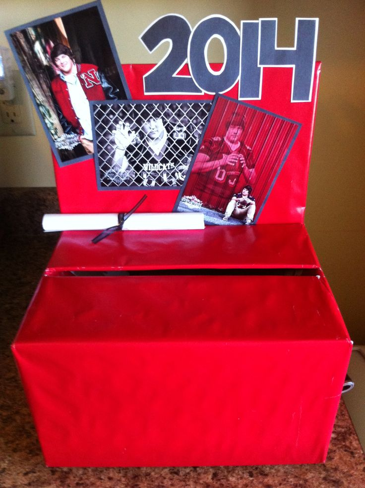 Card box for my brother's high school graduation party. Made from a diaper box wrapped in wrapping paper.