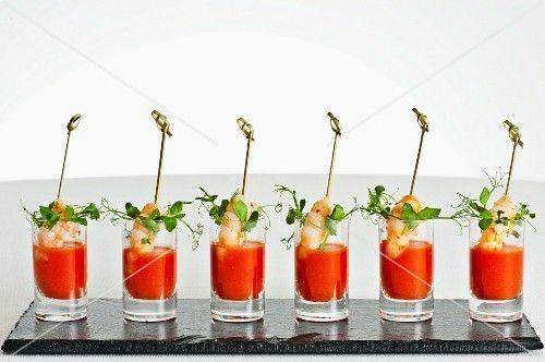 A row of gazpacho shots
