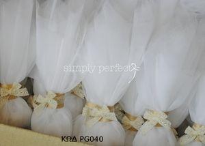 Μπομπονιέρα από γαλλικό λευκό τούλι  ΚΩΔ PG040