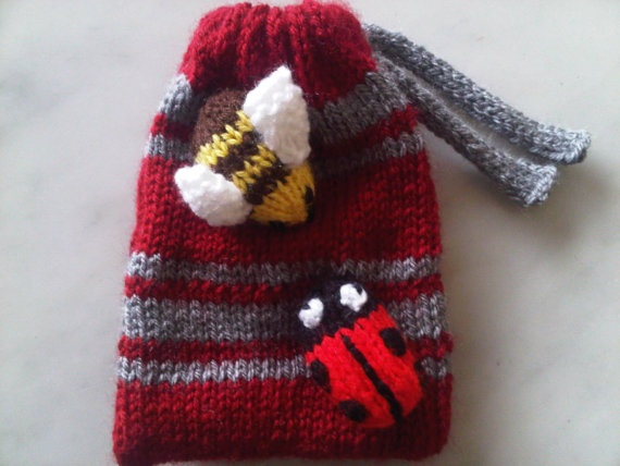 Bumble bee and ladybird knitted bag by Bags of Curiosity