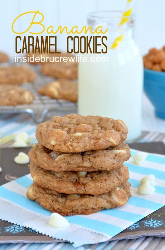 Banana Caramel Cookies from http://www.insidebrucrewlife.com - easy cake mix cookies made with bananas #cookies #banana #recipes