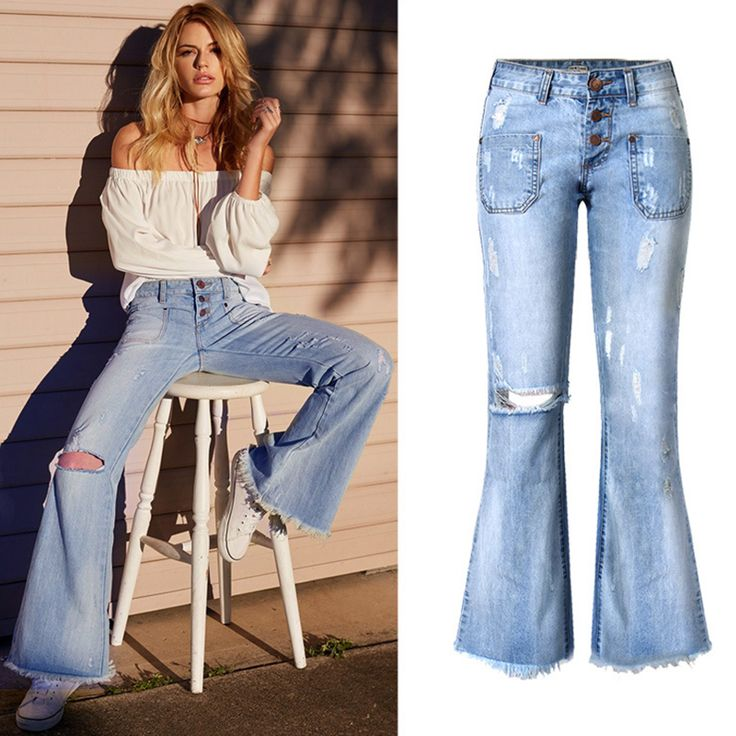 Sale Price US $22.98 Discount 45% Jeans Woman Loose Wide Leg Flare Pants Tassel Low Waist Boyfriend Ripped Jeans for Women Vintage Denim Pants Femme Trousers P45 just like hollywood stars #jeans_sexy
