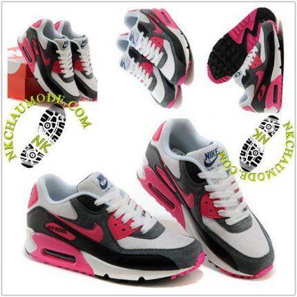 nike air max 90 gris blanc rose noir femmes chaussures