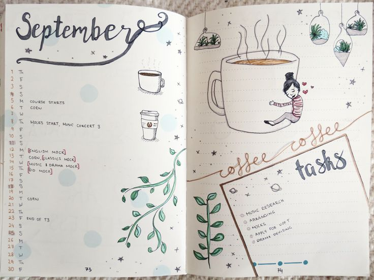 """studycardsncoffee: """"september layout!!! everyone on studyblr is getting ready for fall and i'm chilling here in auckland for the beginning of spring ✌️✌️ """""""
