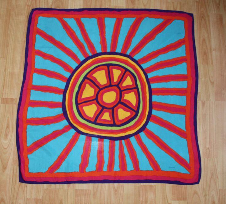 Design by Aboriginal artist Jimmy Pike. Silk, machine stitched hem.