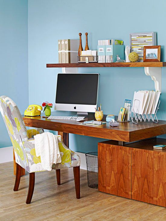 Make your work space beautiful with these easy tips: http://www.bhg.com/decorating/budget-decorating/cheap/cheap-savvy-decor-design-ideas/?socsrc=bhgpin010714prettyworkingspace&page=2