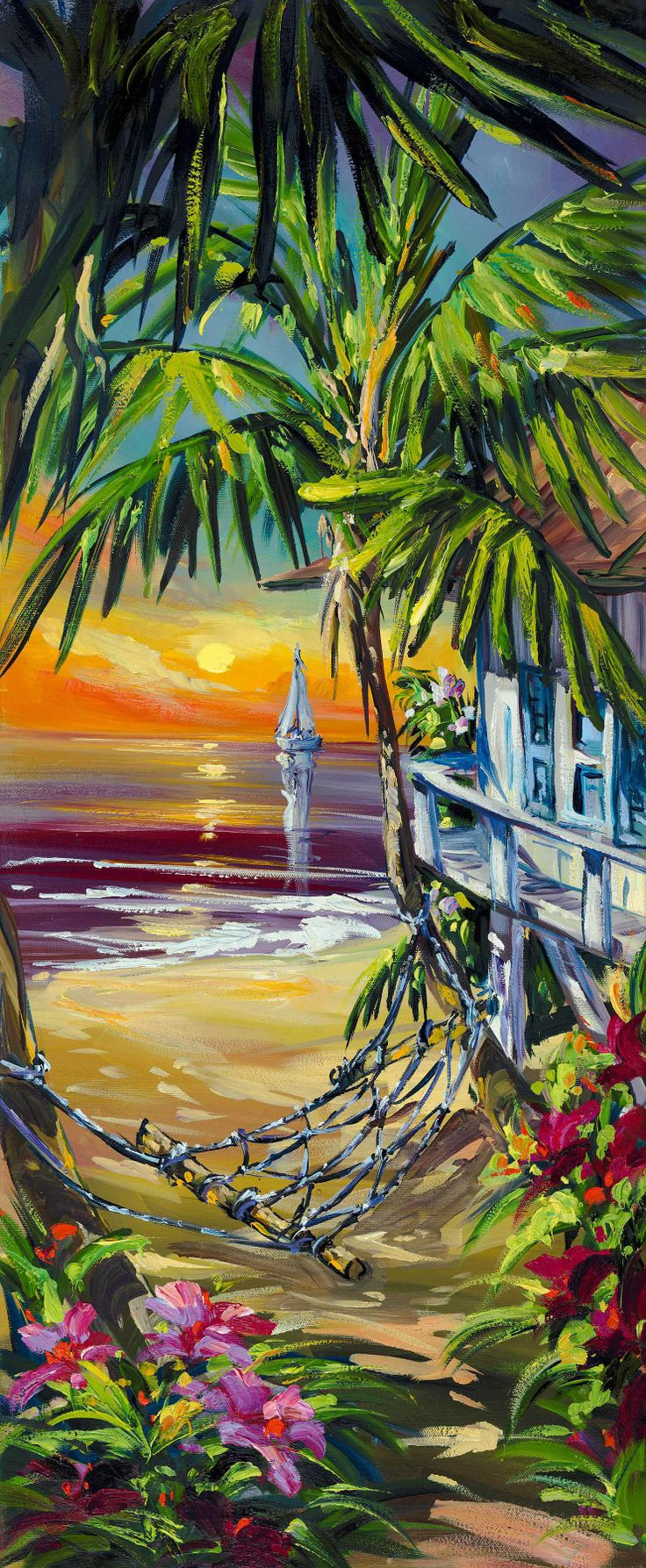 """Sunset Bungalow"", by Steve Barton Size: 14"" x 34"" Medium: Giclee on Canvas - Gallery Wrap Edition: 50  #art #hawaii"