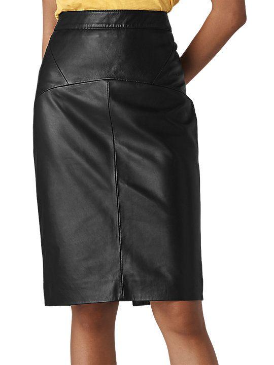 fbccf918b8 Whistles Kel Leather Pencil Skirt, Black | Classy Dressing