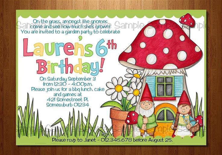 Garden Party Printable Invitation Gnome Gnomeo And